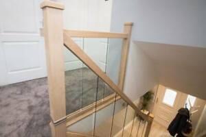 Modern Oak and Glass Staircase Banister + Landing Set including Newel Posts