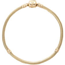 "NEW PANDORA 14 Karat Yellow Gold Shine Smooth Mesh Charm Bracelet 7.5"" 19 cm"
