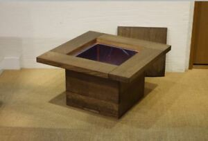 "Japanese Handmade Wooden Brazier ""Ancient Hibachi"" made of Japanese Oak"