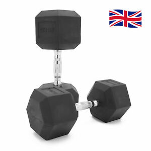 Hex Dumbbells 20kg Pairs Cast Iron Rubber Encased Home Gym Fixed Weights