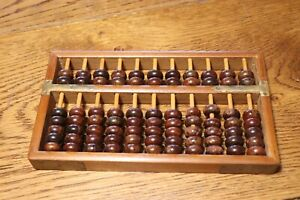 Vintage Wood ABACUS 11 Rods 77 Wooden Beads Brass Corners Unknown Maker or Age