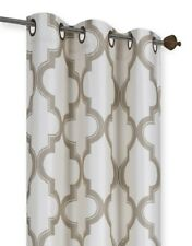 IVORY/TAUPE PANEL/VALANCE MOROCCAN PRINT WINDOW LINED LIGHT BLOCKING CURTAIN