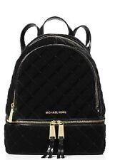 New Michael Kors Rhea Medium Quilted Black Velvet leather bag gold tote backpack