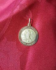 14k yellow gold Saint Lazarus Pray For Us religous Medal pendant charm