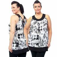 Ladies Plus Size Long Vest Black White Floral Holiday Top 18 - 32