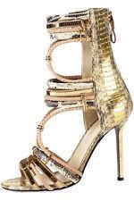 $1295 SERGIO ROSSI Gold Python Gladiator Sandal Pump Heel Shoe 37 - 7