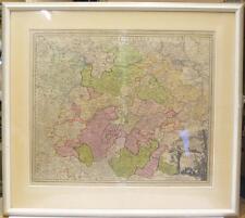 Ancienne carte, thuringe, pour 1750, handcoloriert, en pp, (232/13044)