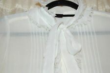 Croon a Song White Cotton Blend Top Button Down Shirt Blouse Size S