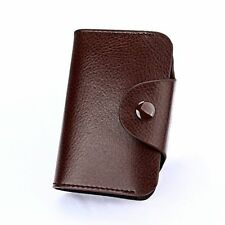 Leather Aluminum Wallet RFID Blocking Anti Scan Pocket Holder Credit Card Case Coffee