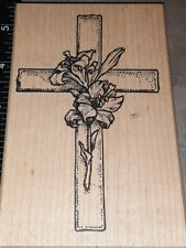 Lily cross,big,toomuchfun,E4,wooden, rubber stamp