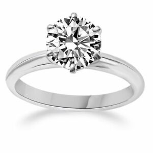 Solid 18K White Gold 1 Ct Round Cut Solitaire Engagement Promise Ring
