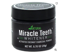 BRAND NEW MIRACLE TEETH WHITENER ACTIVATED COCONUT CHARCOAL POWDER 20G/0.70 OZ