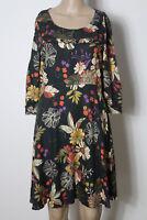 JONES Kleid Gr. 36 schwarz-bunt knielang 3/4-Arm A-Linie Blumen Kleid