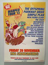 VANS WARPED TOUR 2013 BRISBANE Promo Poster OFFSPRING PARKWAY DRIVE USED **NEW**