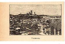 Stampa antica VALEGGIO veduta panoramica in miniatura Pavia 1905 Old print