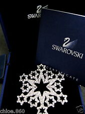 SIGNED SWAROVSKI  PAVE' CRYSTAL SNOWFLAKE PIN ~BROOCH RETIRED NEW IN BOX