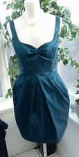 VICKY SAN LONDON SIZE 12 JADE - TURQUOISE SATIN PARTY DRESS