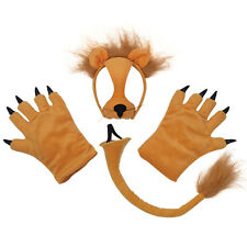 LION SET MASK ON HEADBAND PAWS TAIL ADULT KING OF THE JUNGLE ACCESSORIES PARTY