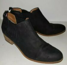 TOMMY HILFIGER black leather Suede Fabric Ankle Boots Booties 9.5
