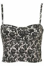 Topshop Floral Print Corset Bralet Bustier Top UK12 EUR40 US8
