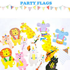 2M Baby Shower Cartoon Animal Garland Striped Paper Flag Birthday Party for kids