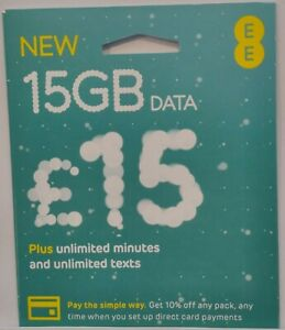 Brand New EE Sim Card - 15GB Pack at Only £15 - DATA ROLLOVER with FREE P&P