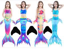 Kids Girls Mermaid Tail Monofin Swimmable Bikini Set Swimsuit Swimming Costumes