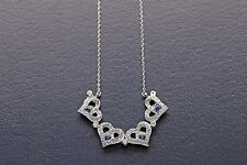 """$2400 1ct Natural Diamond Blue Sapphire 14k White Gold 16"""" Necklace LOCKS IN"""