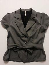Heart Soul Womens Blazer Size Large Gray Stretch Belted Dress Jacket Button Up