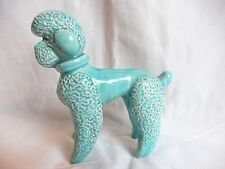 50s 60s Blue pottery china Poodle Dog Ornament Kitsch Retro