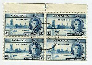 JAMAICA; 1946 GVI Victory issue fine used BLOCK, VARIETY