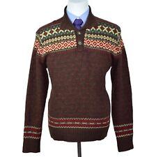 Rare Polo Ralph Lauren 5 Cent Buttons Aztec Wool Silk Mens Brown Sweater Size XL