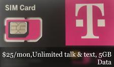 T-Mobile Prepaid Sim Card $25Plan, Unlimited Talk & text,2Gb Data+1Month