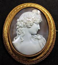 MUSEUM QUALITY GIGANTIC RARE VICTORIAN SHELL CAMEO BROOCH OF ANTINOUS, LAYAWAY!!