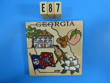 "Ceramic Art Tile 6""x6"" Gerorgia state flag peach house trivet wall keepsake E87"