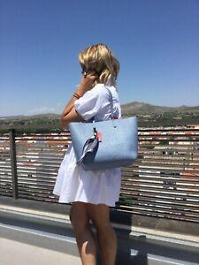 Discount SHOPPING Leather blue BAG  CAROLINA HERRERA,  ORIGINAL,  NWT