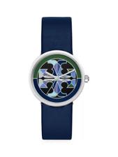 Tory Burch Reva  Blue Leather Strap Watch 36mm