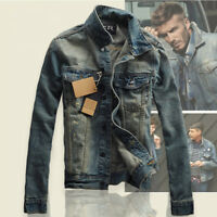 2018 New Men's Slim Fit Classic Retro Thicken Coat Jean Denim Jacket Outerwear L