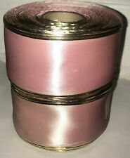 """2 Vtg Wire Edge Satin Ribbon Rolls Orchid Gold #40 2 1/2"""" 50 Yds ea NOS $39.99"""