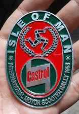 LAMBRETTA Vespa Placca Badge Plakette CASTROL VINTAGE ISLE OF MAN 1958 DOUGLAS