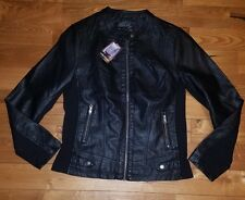 NWT Womens Black SEBBY faux leather moto jacket size Large L