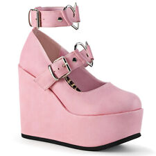 "Demonia Pink 5"" Wedge Heel Platform Heart Buckle Strap Bootie Sandals Goth 6-12"