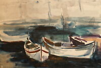 Vintage impressionist watercolor painting seascape boats