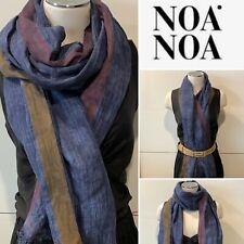 NOA NOA Denmark Organic Linen  Blue, Aubergine, Cocoa SCARF/Wrap/Shawl 70x196cm