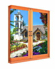 Canvas Print Wall Art 3D Scenic Window View Of a Pretty Greek Church and Flowers