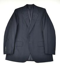 RARE Oxxford Charcoal Heavy Pinstripe THREE PIECE Suit 38 40 USA Made Beautiful