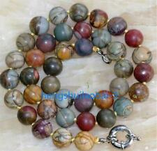 "30"" Natural 10mm Multicolor Picasso Jasper Round Beads Necklace"