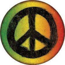 Rasta Peace Sign Novelty ROUND TIN SIGN Vintage Metal Wall Decor