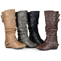 Journee Collection Womens Regular Sized Buckle Slouch Low Wedge Riding Boots New
