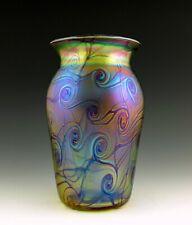 Glamorous Bohemian Art Nouveau Jugendstil Iridescent Glass Vase Tall 8 3/4''